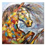 Desihum Square Canvas Wall Art Colorful Horse Oil Painting Modern Home Decor Artwork Ready To Hang 32x32 Inches