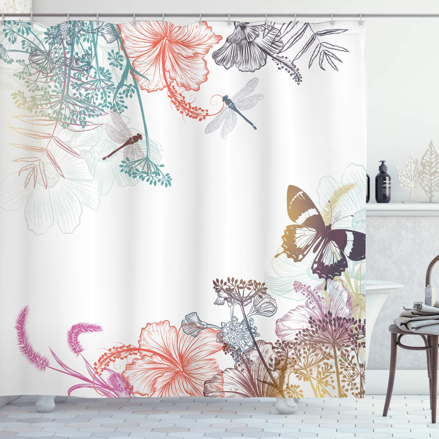 ambesonne dragonfly shower curtain