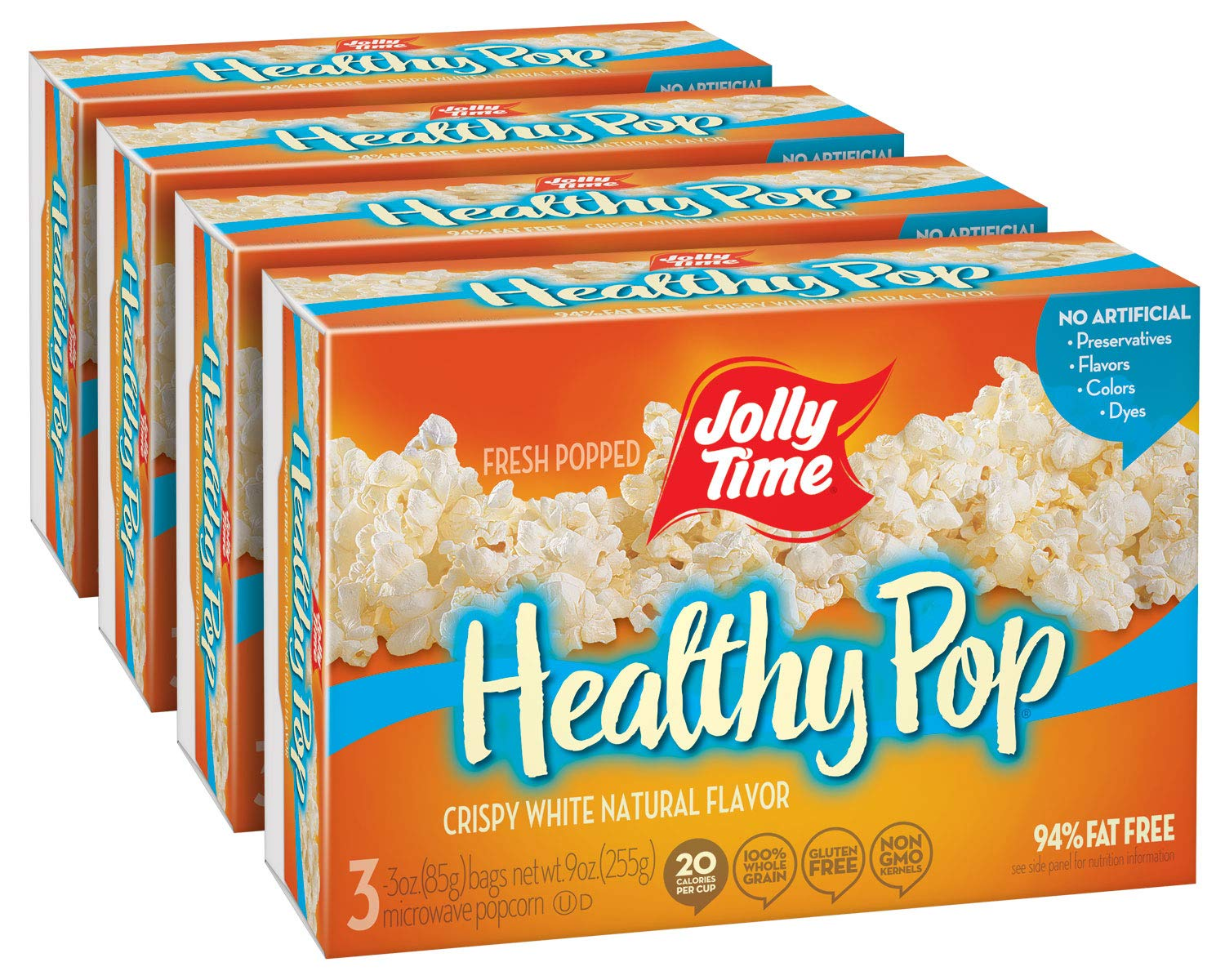 jolly time healthy pop crispy n white low calorie microwave popcorn natural vegetarian food with no sugar or cholesterol 94 fat free 3 count