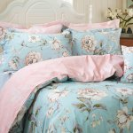 Fadfay Shabby Floral Duvet Cover Set Farmhouse Bedding Blue Cotton Summer Bedding With Hidden Zipper Closure 3 Pieces 1duvet Cover 2pillowcases King California King Size Simple Style