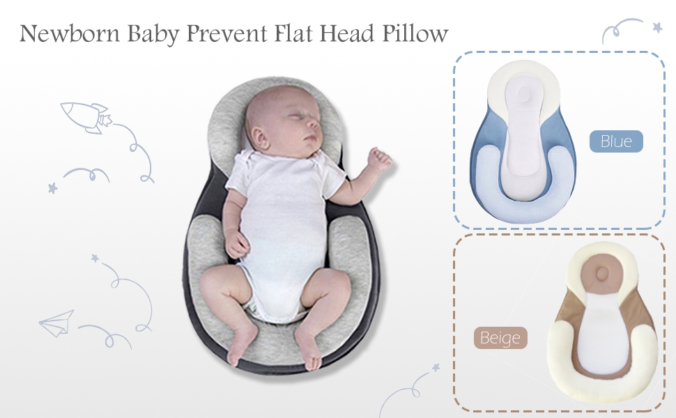 newborn baby nest unisex baby lounger portable baby bed mattress soft infant support pillow baby head support prevent flat head pillow baby shower