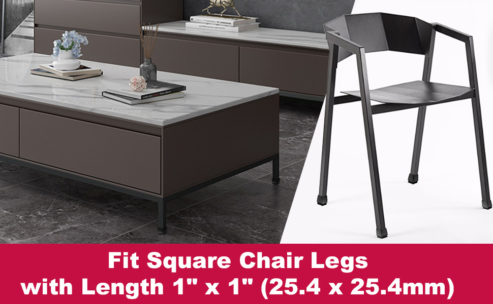x1 square chair leg floor protectors