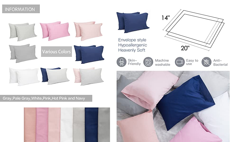 tillyou cotton collection breathable toddler pillowcases set of 2 machine washable super soft 14x20 fits pillows sized 12x16 13x18 or 14x19