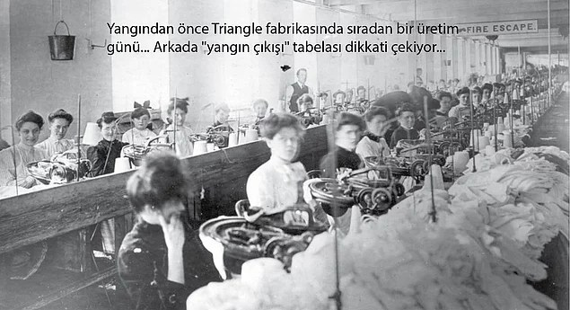 Bu yangınlar içerisinde, tarihçede anlatıldığı gibi, bir grev ve kapıların kilitli olmasıyla örtüşen tek yangın 1911 yılında Triangle Gömlek Fabrikası'nda çıkıyor...