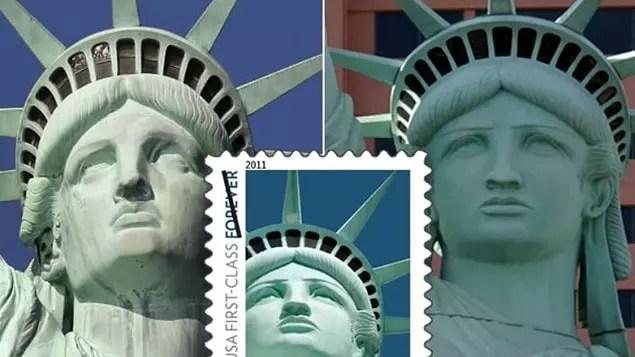 ABD'de kullanılan Özgürlük Heykeli temalı posta pulunda bulunan resim gerçek heykele değil, Las Vegas'taki replikasına aittir.