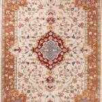 Traditional Style Ivory Rust Tabriz Oriental Hand Tufted