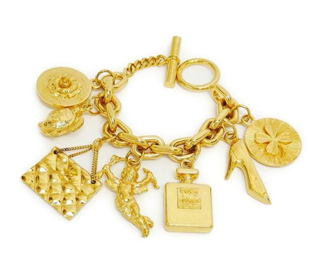 Chanel Vintage Chanel Icon Charm Gold Chunky Bracelet Rare
