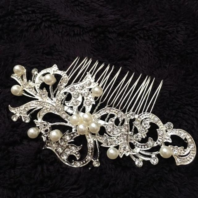 david's bridal silver flower pearl cz diamonds rhinestone clip comb hair accessory 61% off retail