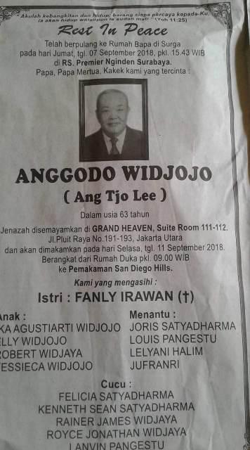 Berita wafatnya Anggodo Widjojo. (Foto: Ist)