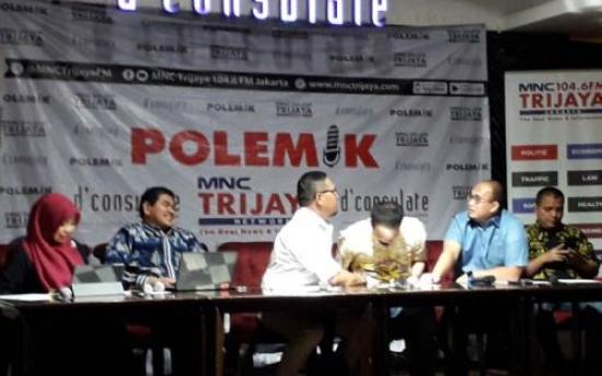 Juru Bicara Badan Pemenangan Nasional (BPN) Prabowo Subianto - Sandiaga Uno, Andre Rosiade di Acara Diskusi Polemik MNCTrijaya (foto: Arie DS/Okezone)