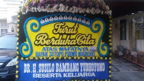 Karangan bunga bela sungkawa untuk Sutopo dari SBY (Foto: Wahyu/Okezone)