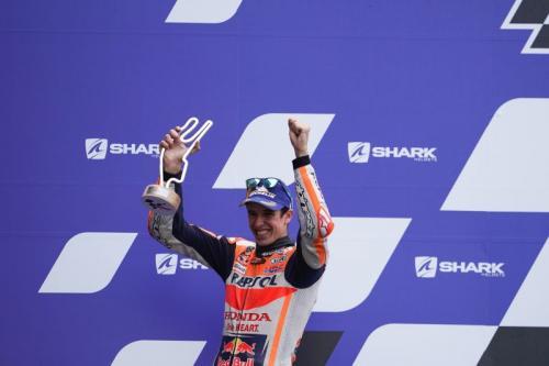 Alex Marquez berhasil naik podium di Prancis (Foto: Honda Racing Corporation)
