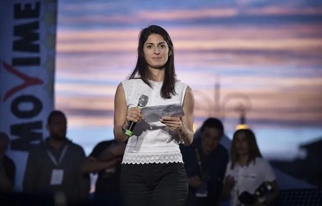 La candidate à la mairie de Rome Virginia Raggi, lors d'un meeting du mouvement 5 étoiles à Osti, près de Rome, le 17 juin 2016.