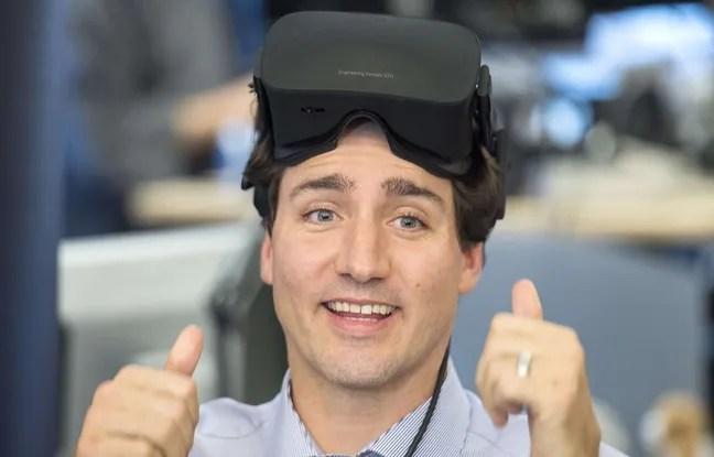 Justin Trudeau teste un masque de réalité augmentée, le 26 février 2016 à Montréal dans les bureaux d'Ubisoft.