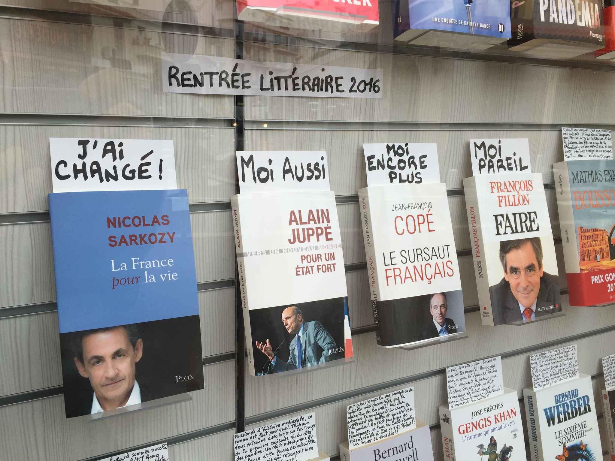 Tại một hiệu sách ở miền Nam nước Pháp, chủ tiệm đã bông đùa với những dòng ghi chú: Tôi thay đổi - Tôi cũng vậy - Tôi còn nhiều hơn - Tôi cũng thế