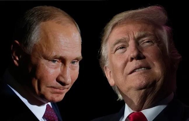 Photomontage de Vladimir Poutine et Donald Trump.