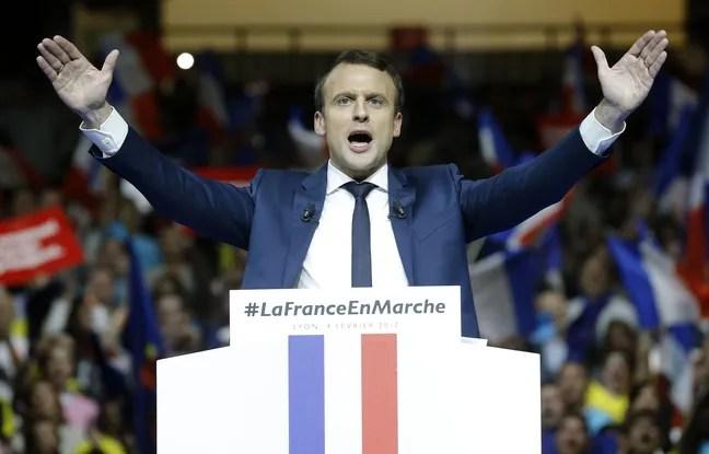 Emmanuel Macron lors d'un meeting à Lyon.