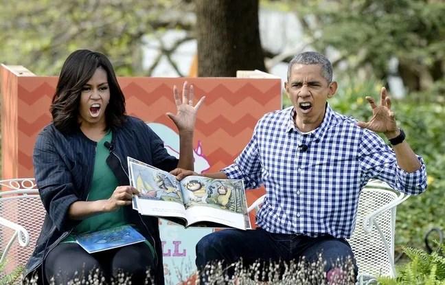 """Barack Obama et sa femme, Michelle, se sont essayés, le 28 mars, à l'imitation des personnages du livre """"Max et les maximonstres"""". REX/Shutterstock"""