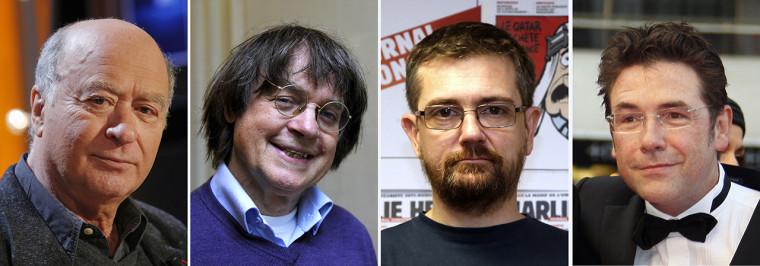 A támadásban meghalt négy karikatúrista: Georges Wolinski,  Jean Cabut (Cabu), Charb és Tignous.  AFP PHOTO