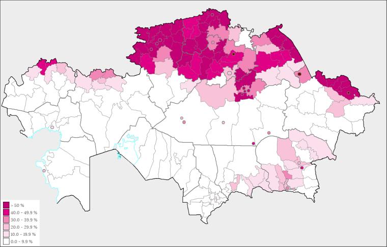A szláv lakosság részaránya a teljes lakossághoz képest Kazahsztánban - Wikipédia