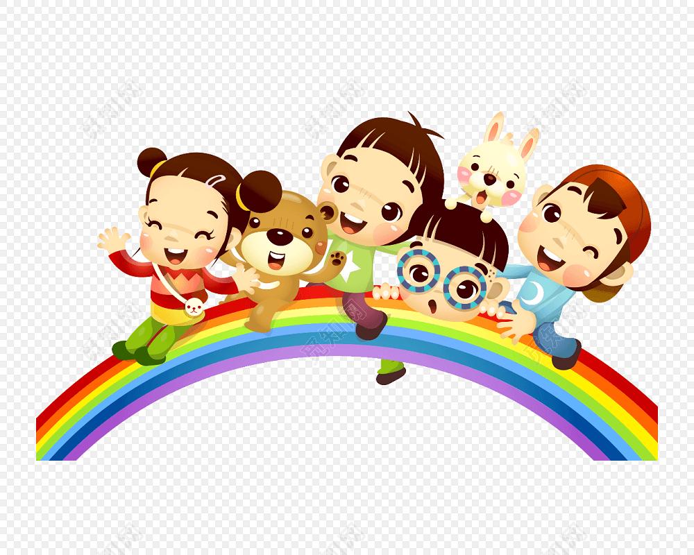 彩虹小孩卡通兒童玩耍素材免費下載_覓知網