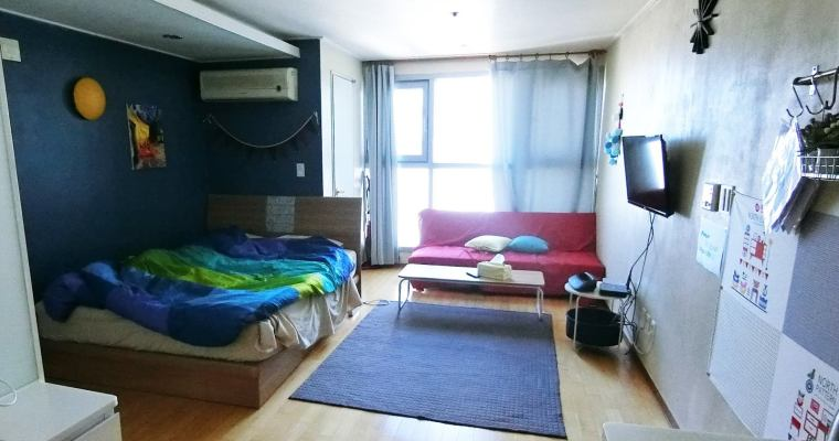 釜山住宿|鄰近西面、釜岩站的兩人民宿Airbnb,廚房、便利商店、舒適空間