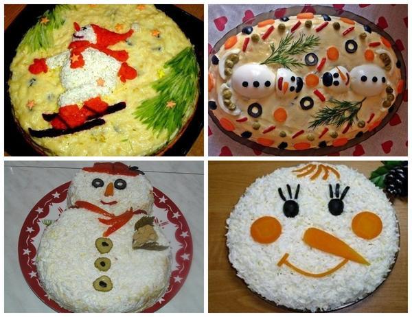 Devoraは面白い雪だるまの形でサラダを喜ばせます。しかし、大人はおそらく笑顔を呼び出すでしょう。