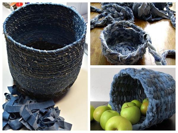 Jika Anda memotong jins tua pada pita, Anda bisa menenun keranjang