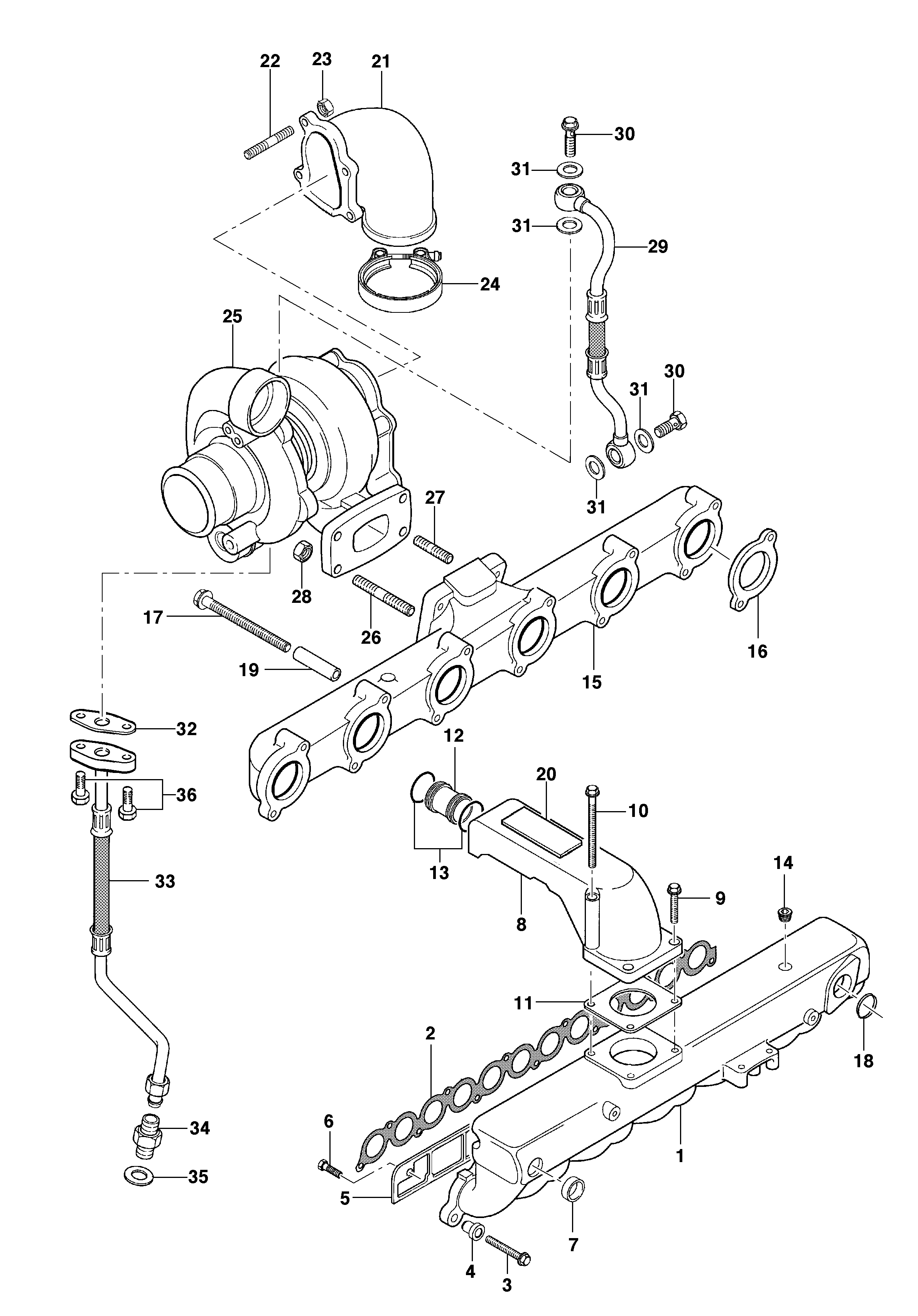 Turbocharger Intake And Exhaust Manifolds