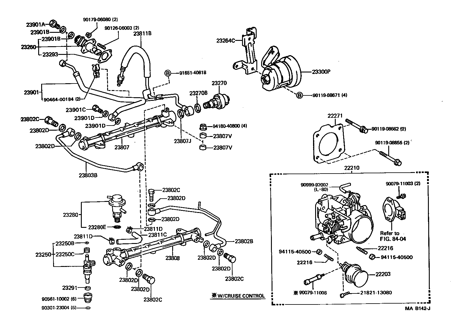 Fuel Injection System Illust No 1 Of 2 3vze P Toyota 4 Runner Truck Rn8 90 12