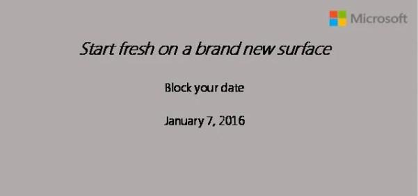 Microsoft Surface Pro 4 event invite