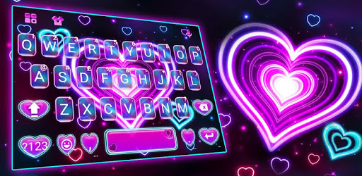 Neon 3d Heart Keyboard Theme apk