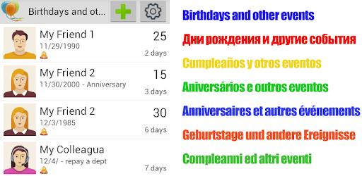 Birthdays & Other Events Reminder apk