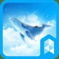 Simple Sky Blue Whale Illust Launcher theme Icon