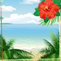 Tropical Beach Photo Collage Icon