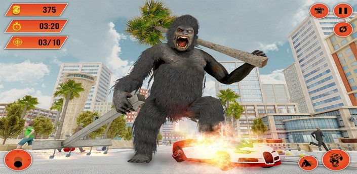 Gorilla City Rampage: Angry Animal Attack Game apk