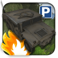 3D Military Car Parking Icon