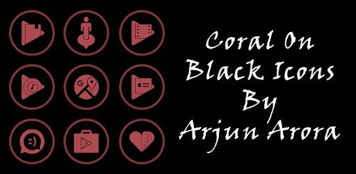 Coral On Black Icons By Arjun Arora apk