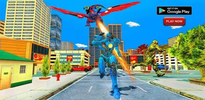 Flying Dinasaur Robot Car Transform: Dino Games apk