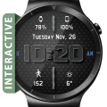 Chrome Leather HD Watch Face Widget Live Wallpaper Icon
