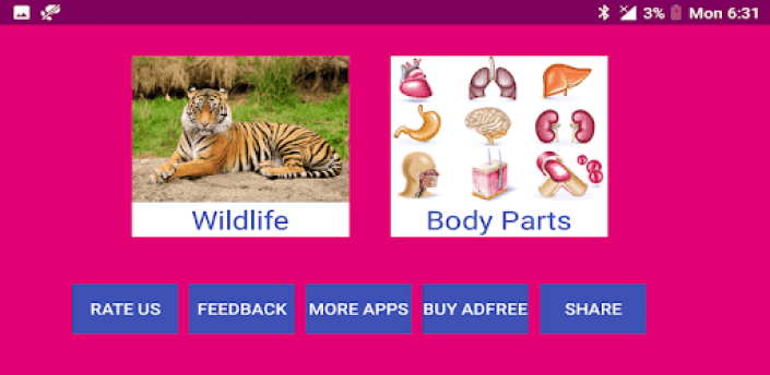 Learn Gujarati Wildlife and Body Parts Names apk
