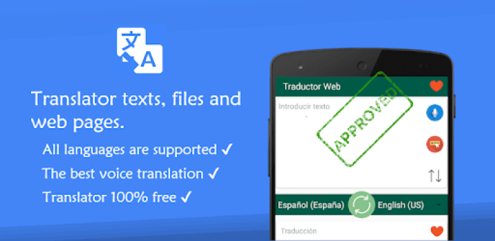 Translator for text, web pages & photos. 100% free apk