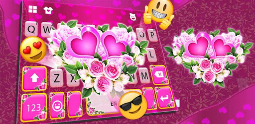 Pink Rose Flower Keyboard Theme apk