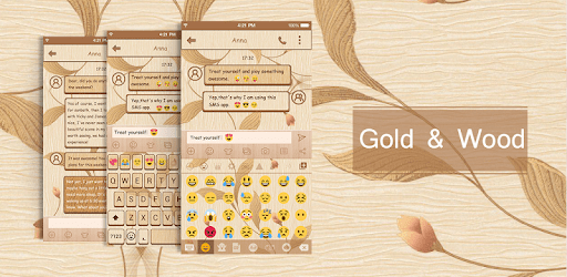 Gold Wood Emoji Keyboard Theme apk