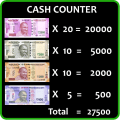 Cash Currency Count with Calculate Icon