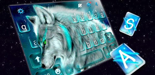 Cyan Neon Wolf Keyboard Theme apk