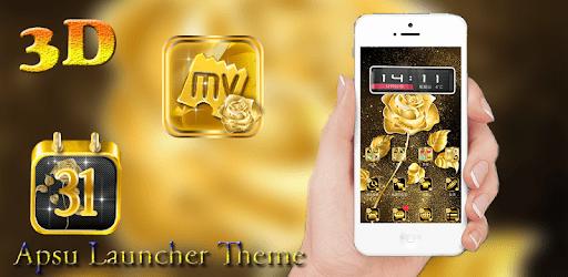 3D Ripple Golden Rose Launcher Wallpaper Theme apk