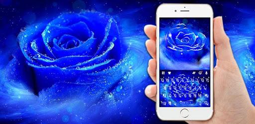 Silver Blue Rose Keyboard Background apk