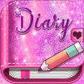 Cute Pink Secret Diary with Glitter Icon