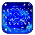 Silver Blue Rose Keyboard Background Icon